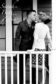 Marine engagement photos/ engaged couple kissing on the porch Picture Poses, Photo Poses, Picture Ideas, Photo Shoot, Photo Ideas, Homecoming Pictures, Prom Photos, Engagement Couple, Engagement Pictures