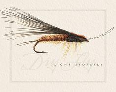 fly fishing prints, 8x10, nymph flies, dry flies, fisherman prints