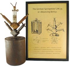 """PATENT PRINT / The German S-mine (Schrapnellmine, Springmine or Splittermine in German), also known as the """"Bouncing Betty"""", is the best-known version of a class of mines known as bounding mines. When triggered, these mines launch into the air and then detonate at about 0.9 meters (3 ft). The explosion projects a lethal spray of shrapnel in all directions. The S-mine was an anti-personnel mine developed by Germany in the 1930s and used extensively by German forces during World War II."""