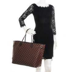 Fashionphile LOUIS VUITTON Damier Ebene Neverfull GM $895 Made in France Leather Tag Date Code/No cloth tag