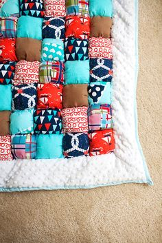 Baby Boy Nautical Puff Quilt. $150.00, via Etsy. Love this idea for a quilt, but different colors.