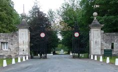 The main gates to Grimston Park. A grade II* listed Georgian country house in Grimston, nr. Tadcaster, North Yorkshire.