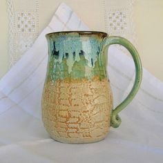 Stoneware Pottery Beer Mug Tankard Stein 24 oz by PorcelainJazz on Etsy.