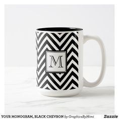 YOUR MONOGRAM, BLACK CHEVRON Two-Tone COFFEE MUG Initial Coffee Mugs, Black Chevron, Photo Mugs, Create Your Own, Initials, Monogram, Ceramics, Make It Yourself, Tableware