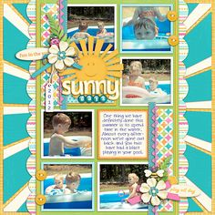 I love the rays around the page! Sunny Days - Scrapbook.com