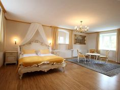 Prince's suite at Castle Hotel Deutschlandsberg in Styria province Hotels, Romantic Room, Restaurant, Austria, Toddler Bed, Castle, Furniture, Home Decor, Farmhouse