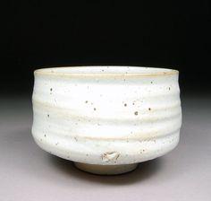 Winter Stoneware Matcha Chawan Tea Bowl glazed with White Shino Natural Iron Spots