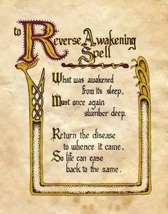 """Reverse Awakening Spell"" - BoS Charmed - Book of Shadows healing spells and rituals, pagan spells, healing magic spells Halloween Spell Book, Witch Spell Book, Witchcraft Spell Books, Witchcraft Spells For Beginners, Healing Spells, Magick Spells, Charmed Spells, Charmed Book Of Shadows, Charmed Tv"