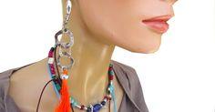 Long Tassel Earrings| Orange earrings| Long Zamac earrings| Lunghi Orecchini nappa| Orecchini arancione| gioielli etnici| di Frammentidivetro su Etsy