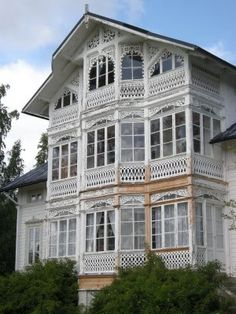 """This house has quite a lot of what is called the """"carpenter's delight"""". It is """"sweet as sugar""""! This Old House, German Houses, Nordic Living, Pretty Room, Villa, House Floor Plans, Victorian Homes, Traditional House, Scandinavian Design"""
