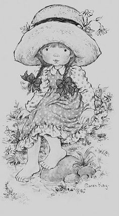 Summer Day - by Sarah Kay Holly Hobbie, Colouring Pics, Coloring For Kids, Sara Key Imagenes, Sara Kay, Vintage Coloring Books, Sketch 4, Adult Coloring Book Pages, Black And White Drawing