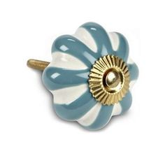 Striped Pumpkin Drawer Knob With Turquoise & White