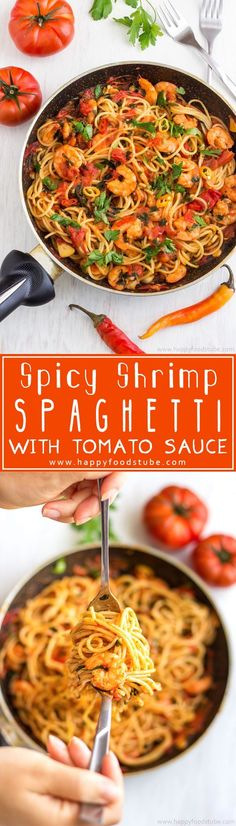 Spicy Shrimp Spaghetti is an easy and delicious dish ready in 20 minutes. Shrimp cooked in tomato sauce with garlic and served with pasta. Great family meal recipe. #shrimp #spaghetti #meal #recipe #dinner #lunch #homecooking #pasta #seafood via @happyfoodstube