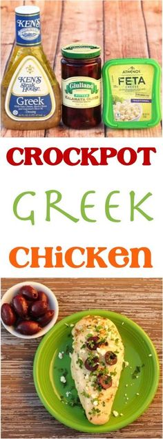 With just 4 Ingredients, this Easy Crockpot Greek Chicken Recipe is the perfect delicious chicken dinner for busy nights! Slow Cooked Meals, Crock Pot Cooking, Slow Cooker Recipes, Cooking Recipes, Healthy Recipes, Crockpot Recipes, Easy Recipes, Chili Recipes, Cheese Recipes