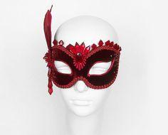 Red & Burgundy Velvet Masquerade Mask With Rhinestones by SOFFITTA