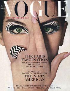 Vogue, September 1964. Veronica Hamel in zebra eye makeup by Pablo Manzoni, photo by Irving Penn, ring by David Webb. #JoeFresh