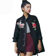 Vintage Floral Embroidery Spring Jacket Women Bomber Ethnic Jacket Coats Outwear Jaqueta Feminina Chaquetas Mujer Windbreaker