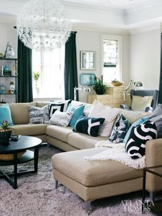 navy blue and cream living room - Google Search