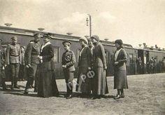 Nicholas II and Empress Alexandra with their children (l-r), Alexei, Olga, Maria, Tatiana and Anastasia, in 1916.