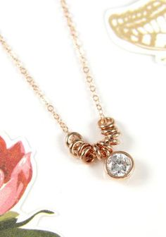 Diamond Drop necklace rose gold filled