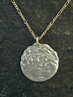 Sterling Silver Ancient Japanese Design Wave Pendant