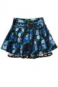 Women's Skull Rose Blues Mini Skirt - Blue