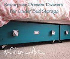 Repurpose Dresser Drawers For Under Bed Storage..http://homestead-and-survival.com/repurpose-dresser-drawers-for-under-bed-storage/