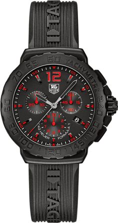 Tag Heuer Formula 1 Chronograph Red Bezel Men's Quartz Watch with Black Dial Chronograph Display and Black Rubber Strap Tag Heuer Formula, Rubber Watches, Luxury Watches For Men, Designer Engagement Rings, Digital Watch, Chronograph, Formula 1, Black Rubber, Men's Watches