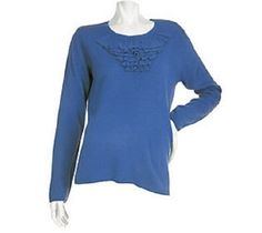 New Susan Graver PlushKnit Scoop Neck Tiered Ruffle Sweater Denim Blue 2X #SusanGraverStyle #ScoopNeck