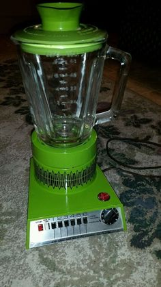 Vintage Hoover Blender Solid State 6 Speed with Timer, Lime Green  EUC