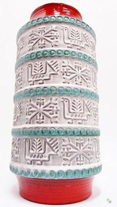 Vase Bay Keramik Bodenvase Bodo Mans 51 cm türkis weiß rot Landhaus Used Look  | eBay