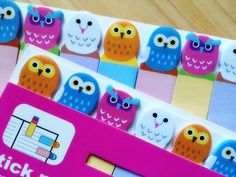 owl sticky note cute bird stick marker owl by StickersKingdom