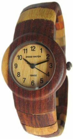 Tense Round Cuff Multi Colored Inlaid Bracelet Womens Hypoallergenic Watch L8108i Tense Wood Watches. $129.00. Made with sandalwood with round face - analog 1-12 light wood face. Water resistant - 2 year manufacturer warranty. Becomes more beautiful with wearing as the natural oils from your skin add to the beauty. Each watch is unique with no other one like it due to the natural wood grains. Cuff style which slips on and off with easily