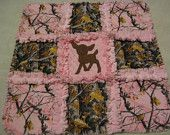 Real Tree Pink and Brown Camofluage Deere Baby Girl Rag Quilt Blanket 22x22