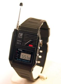 Vintage Watches Casio FM Voice Transmitter Watch Turn it on, speak into the microphone and any FM radio nearby can receive the signal - Retro Watches, Vintage Watches, Cool Watches, Watches For Men, Casual Watches, Unique Watches, Casio Vintage Watch, Casio Watch, 80s Design