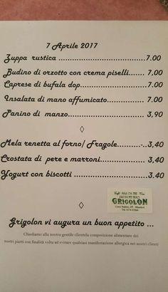Il menu del giorno del Bar Grigolon