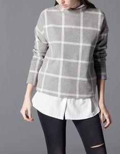 stradivarius minimal grey checked jumper