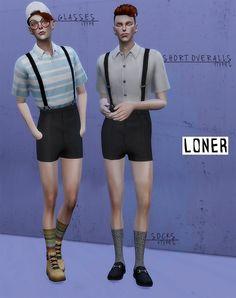 Short overalls, glasses and socks at Loner via Sims 4 Updates