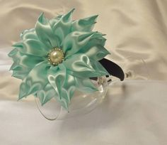 Headband Blue Flower made with satin ribbons by Nataliasproducts