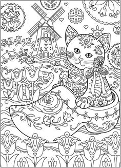 Owl Owls Crescent Moon Flowers Peace Space Coloring Pages Colouring