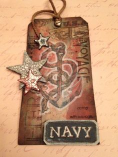 M.E. and My Walk on the Creative Side: Anchors Aweigh! Tim Holtz July 2013 Tag