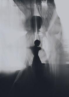 black and white artwork - female silhouette: soul dance | Artist / Künstler: David Galstyan @ behance |