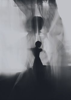black and white artwork - female silhouette: soul dance | Artist / Künstler: David Galstyan @ behance |
