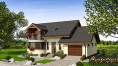 O casa de vis cu 4 dormitoare mansarda si garaj - proiect detaliat cu fotografii Home Design Floor Plans, Garage House, Small House Design, Design Case, Home Fashion, House Plans, Shed, Home And Garden, Cabin