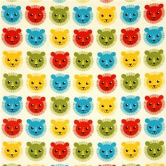off-white fabric with colourful lions by Robert Kaufman
