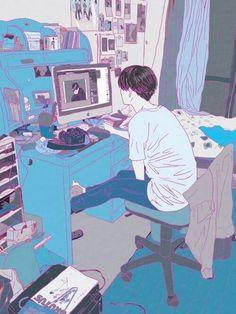 grafika art, anime, and boy Comics Illustration, Character Illustration, Kawaii Illustration, M Anime, Anime Art, Aesthetic Art, Aesthetic Anime, Animation, Illustrator