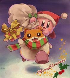 Kirby「Merry Christmas!」/「あまな」のイラスト [pixiv]