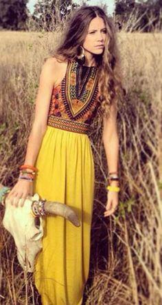 Yellow Tribal Print Sleeveless Maxi Dress