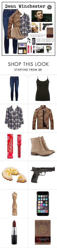 """Dean Winchester"" by imsailormars ❤ liked on Polyvore featuring Hudson, M&Co, Miss Selfridge, Lime Crime, Smith & Wesson, Peugeot, County Of Milan, MAC Cosmetics and Bobbi Brown Cosmetics"