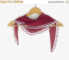 SALE 20% Fuchsia Scarf, Cotton cowl with crochet Oya Lace edges , Womens foulard , Hot Pink Cotton bandana, Summer Scarflette